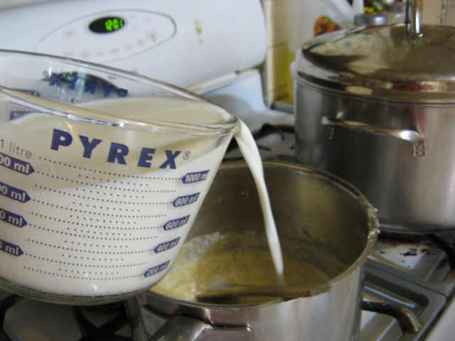 Pour in the milk